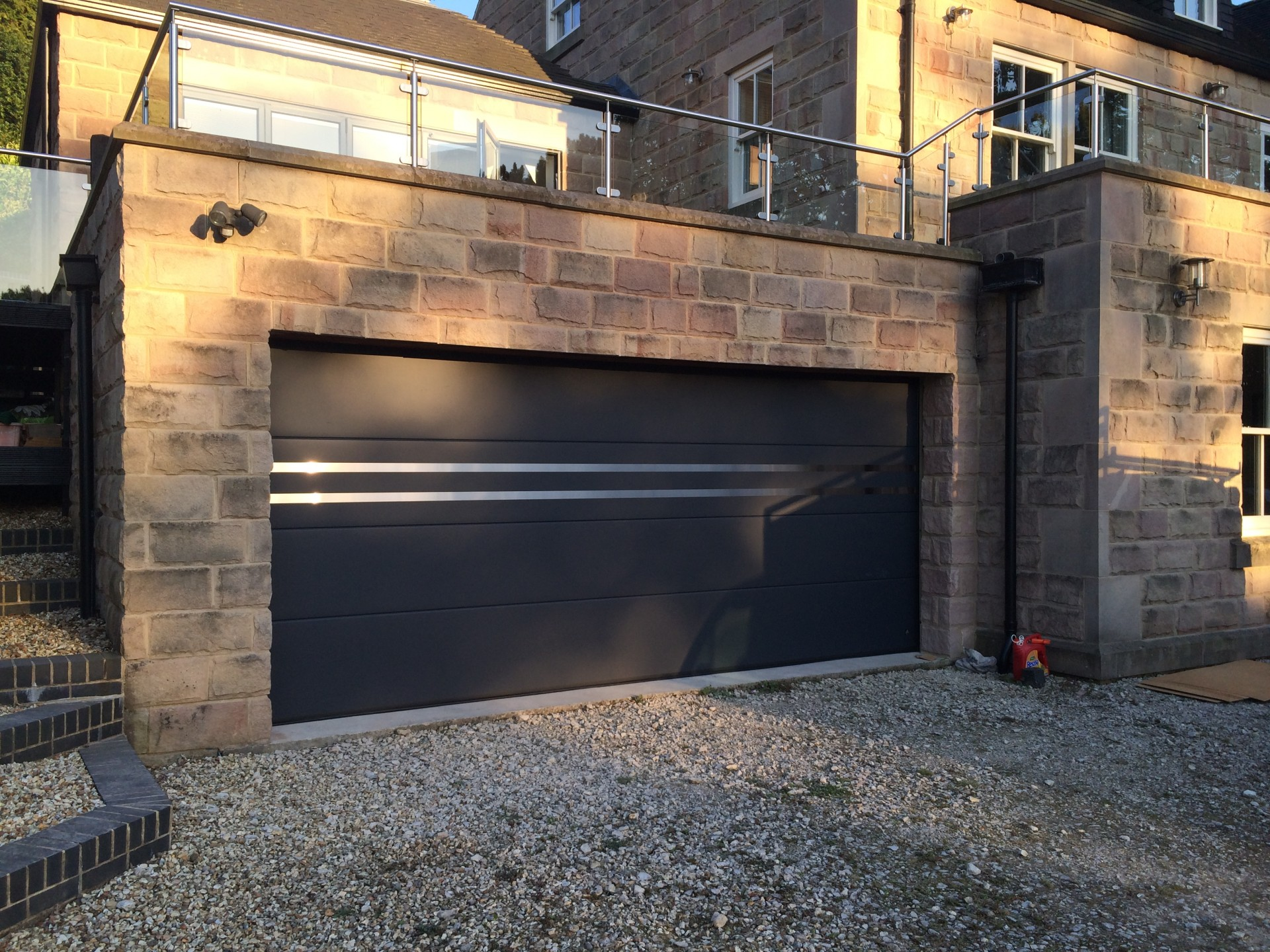 1440 #B47B17  Sectional Garage Door In Anthracite Grey With A Stainless Steel Design pic Sectional Steel Garage Doors 35911920